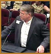 Doug Athas at a special City Council session representing  Let Us Vote!